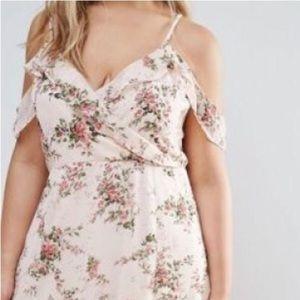 Boohoo Floral cold-shoulder maxi dress